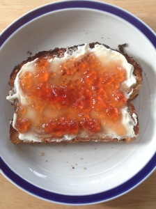 Whole wheat toast, cream cheese and quince jelly!