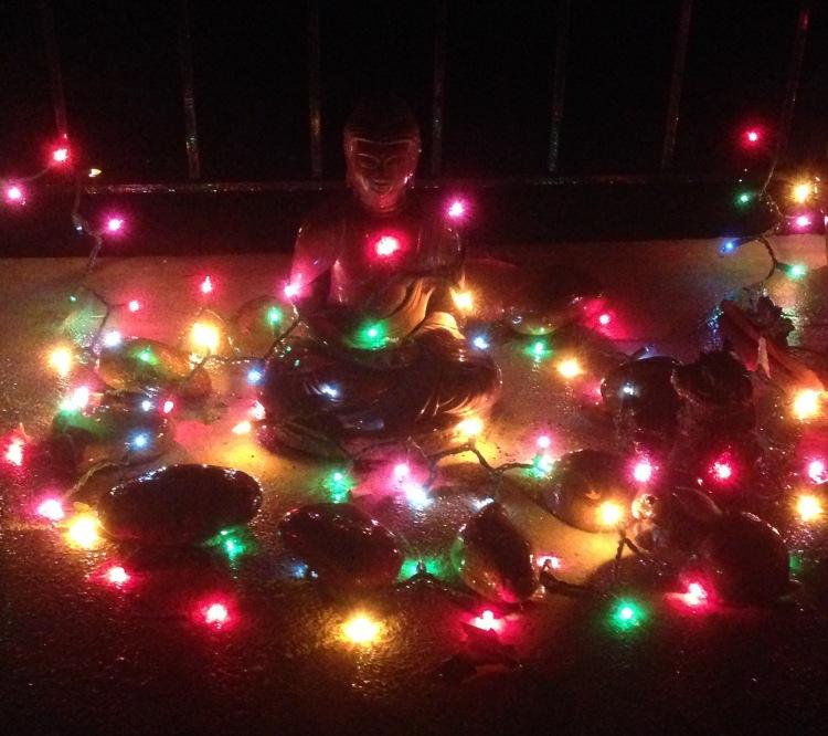 Buddha with Christmas lights