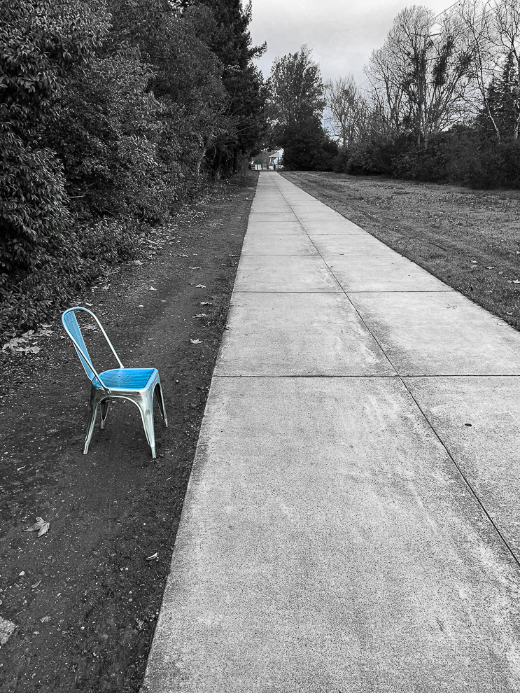 A blue chair