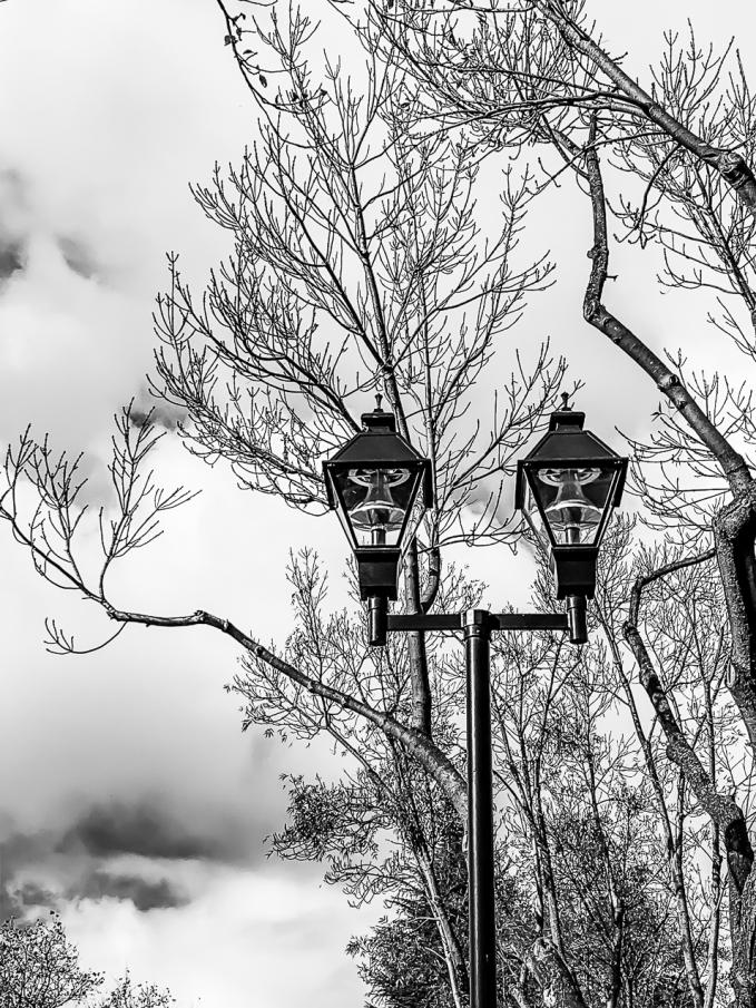 Street lamps w coluds - b&w-7880