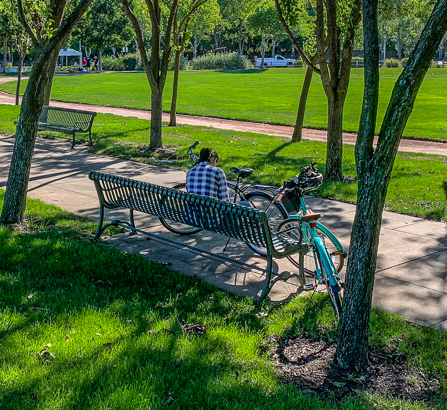 WW-Woman on park bench w bikes-9411-4