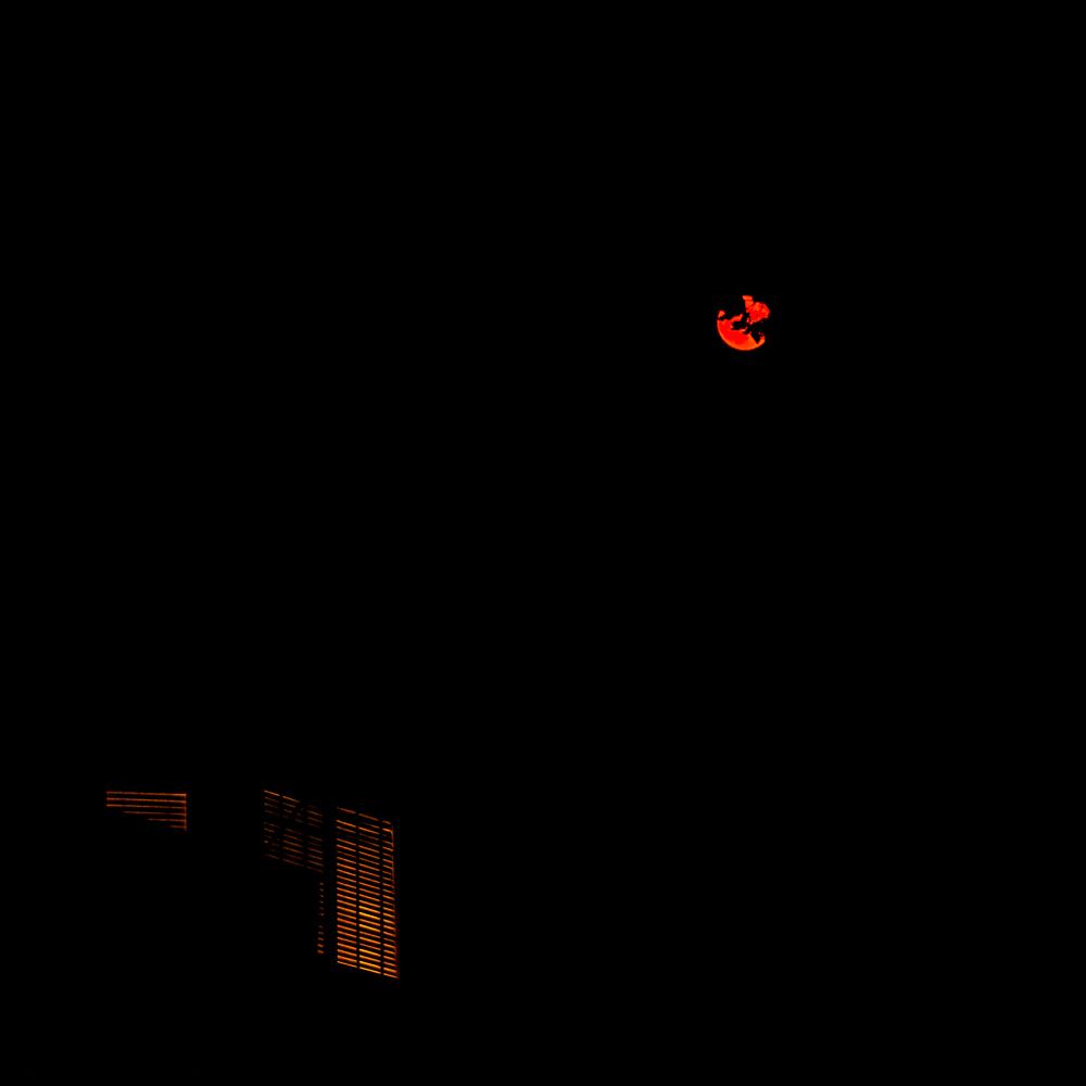 Harvest moon on a smokynight